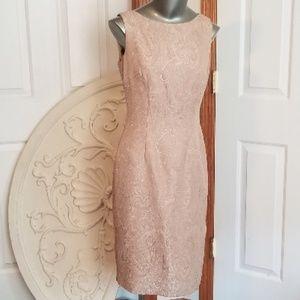 Talbot's Gold Brocade Sleeveless Evening Dress